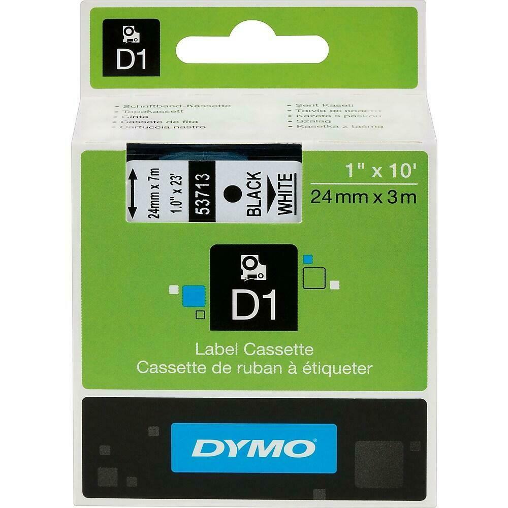 """DYMO D1 Label Tape, 24mm (1""""), Black on White"""
