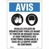 """ZENITH SAFETY PRODUCTS  """"Utiliser un désinfectant pour les mains et un masque facial"""" Adhesive Vinyl Sign 10"""" x 14"""""""
