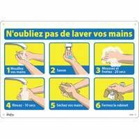 "ZENITH SAFETY PRODUCTS  ""N'oubliez pas de laver vos mains"" Bolt-on Plastic Sign 20"" x 14"""