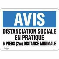 "ZENITH SAFETY PRODUCTS  ""Distanciation sociale en pratique"" Adhesive Vinyl Sign 10"" x 14"" - 4mil thick"
