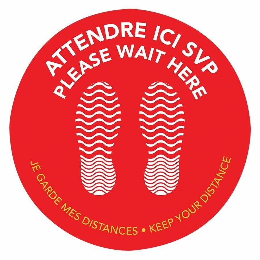 "Bilingual Self-Adhesive Floor Pad ""Please Wait Here"""