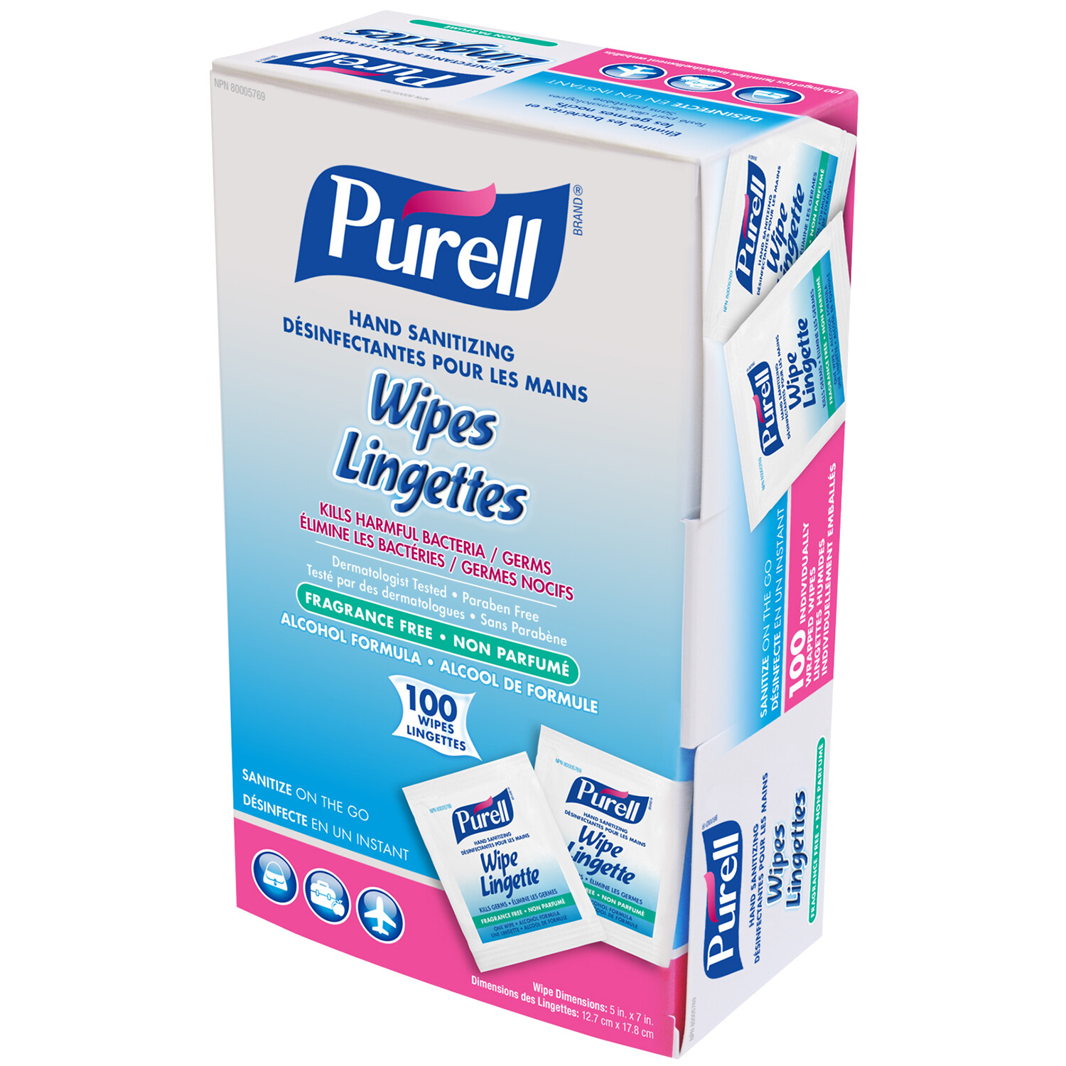 Purell Individually Wrapped Sanitizing Hand Wipes - 100/pack