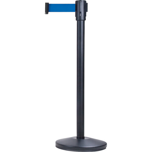 "Zenith Safety Free-Standing Crowd Control Stanchion, 35"", Steel, Black/Blue, 7' Strap"