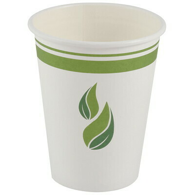 Eco Guardian Compostable Single Wall Paper Cups, White, 12 oz, 50/PK