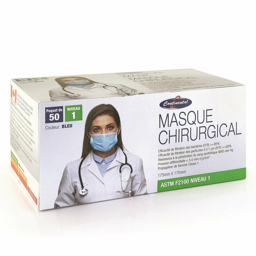 Continental ASTM F2100 Level 1 Medical Masks Blue 50/box MADE IN CANADA
