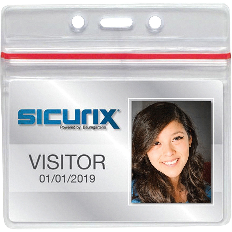 Sicurix Sealable ID Badge Holder, Horizontal, 50/Pack