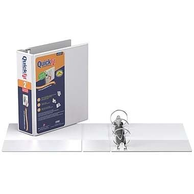 """QuickFit Heavy-Duty Small Size Round-Ring Antimicrobial Binder, 2"""", White"""