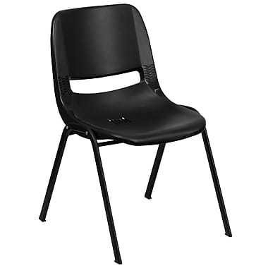"""Flash Furniture Hercules Shell Ergonomic Stack Chair With Black Frame and 12"""" Seat, Black"""