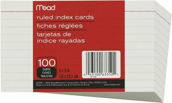 """HILROY Mead Index Cards, Ruled, 3"""" x 5"""", 100/Pack"""