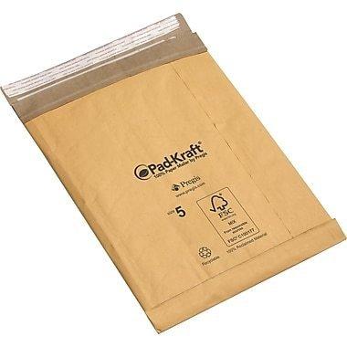 "Pad-Kraft Self-Seal Padded Mailers, 7-1/4"" x 12"""