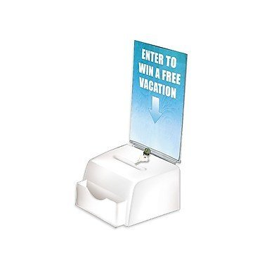 Azar Displays Medium Moulded Suggestion Box with Pocket, Lock and Key, White