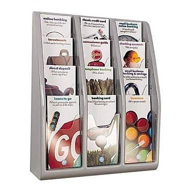 "Deflect-o Leaflet Countertop/Wall Mount Literature Holder, 19-4/5"" x 15-4/5"" x 5"", 12 Pockets, Grey"
