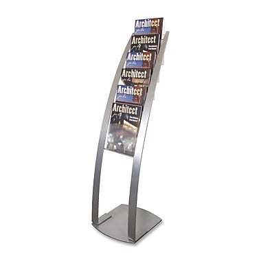 """Deflect-o Contemporary Literature Floor Stand, 49"""" x 13"""" x 16-1/2"""", 6 Compartments, Silver"""