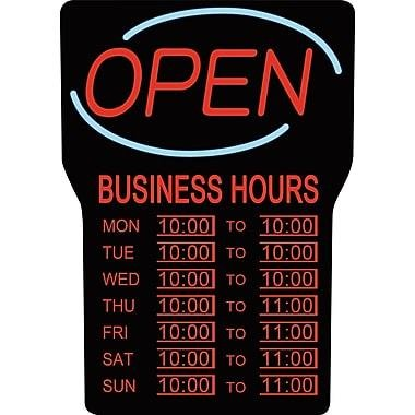 Royal Sovereig LED Open Sign with Business Hours, English