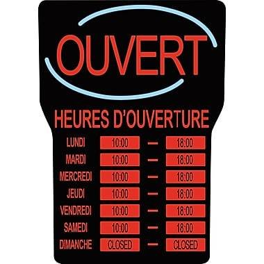 Royal Sovereign LED Open Sign with Business Hours, French