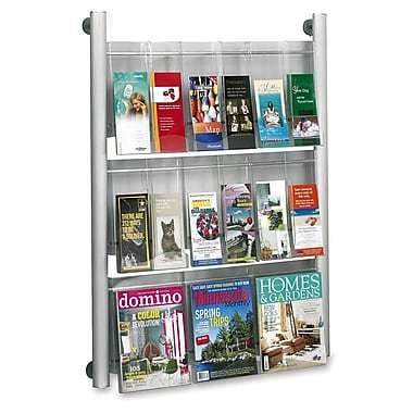 "Safco Luxe 9-18 Compartment Magazine Rack, 41"" x 31-4/5"" x 5"", Silver"
