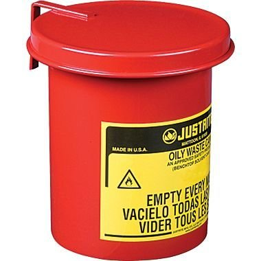 "Justrite® Mini Bench Top Oily Waste Cans, 4 5/8"" x 6 1/2"", 2Lb"
