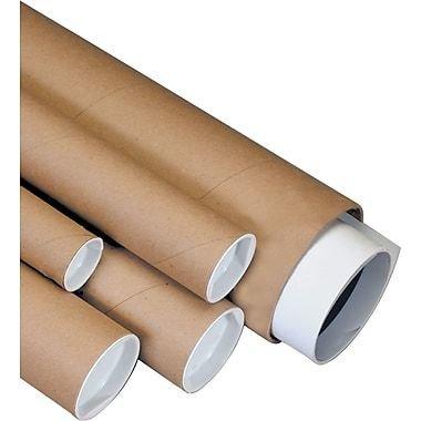 """Plug-Seal Mailing Tubes, 3"""" x 36"""", 0.08 mil., Kraft"""