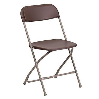 Flash Furniture Hercules Series Premium Plastic Folding Chair with 800lb Capacity, Brown