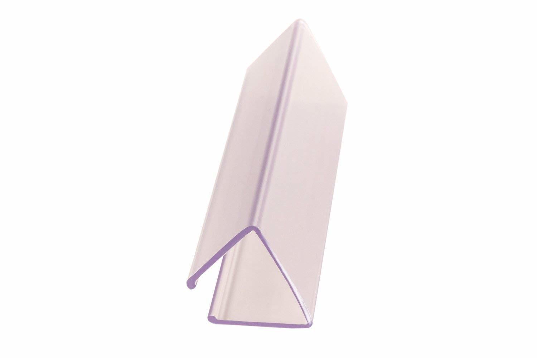 "FFR Merchandising PVC Crystal Wood Shelf Ticket Holder 0.94"", 0.88"" x 2.88"", Clear, 32/Pack"