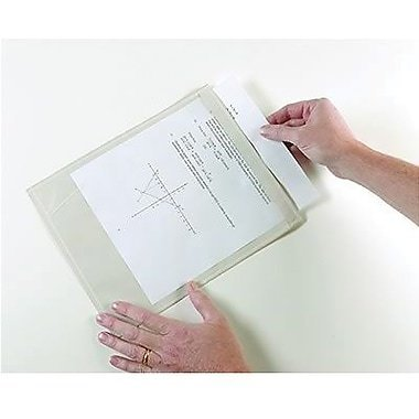 """Ashley Clear Self-Adhesive Document Pocket, 9 1/2""""(H) x 12"""", 12/Pack"""