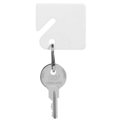MMF Slotted Square Plastic Key Tags, White, 20/Pack