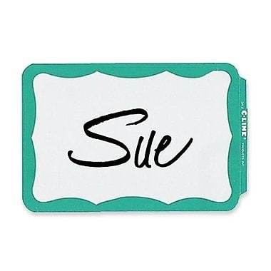 """C-Line Full Self-Adhesive Name Badges, 2.25"""" x 3.5"""", Assorted Blue & Green Border, 100/Pack"""