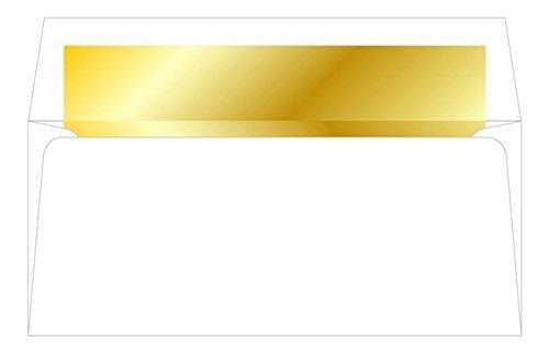 "Geographics White Envelopes Gold Foil-Lined, No.10, 4.12"" x 9.5"", 25/PK"
