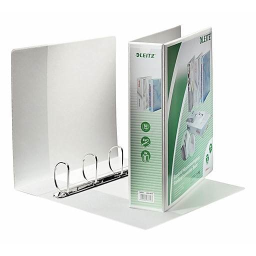 Leitz 4-Ring 3-Inch Premium A4 Sized European View Binders, White