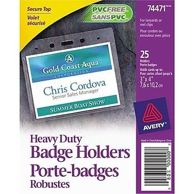 """Avery® 74471 Heavy-Duty Badge Holders for Inserts up to 3"""" x 4"""", 25/Pack"""