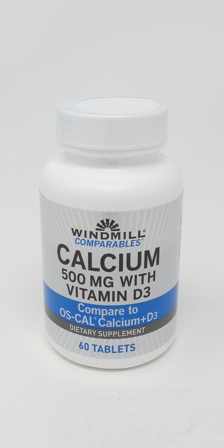 Calcium 500mg With Vitamin D3     60 Tablets