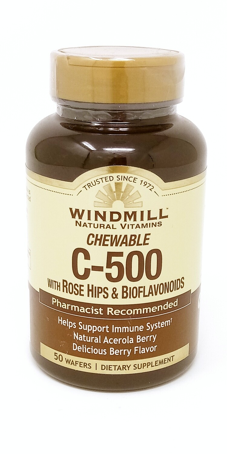 Chewable C-500mg With Rose Hips & Bioflavonoids     50 Wafer
