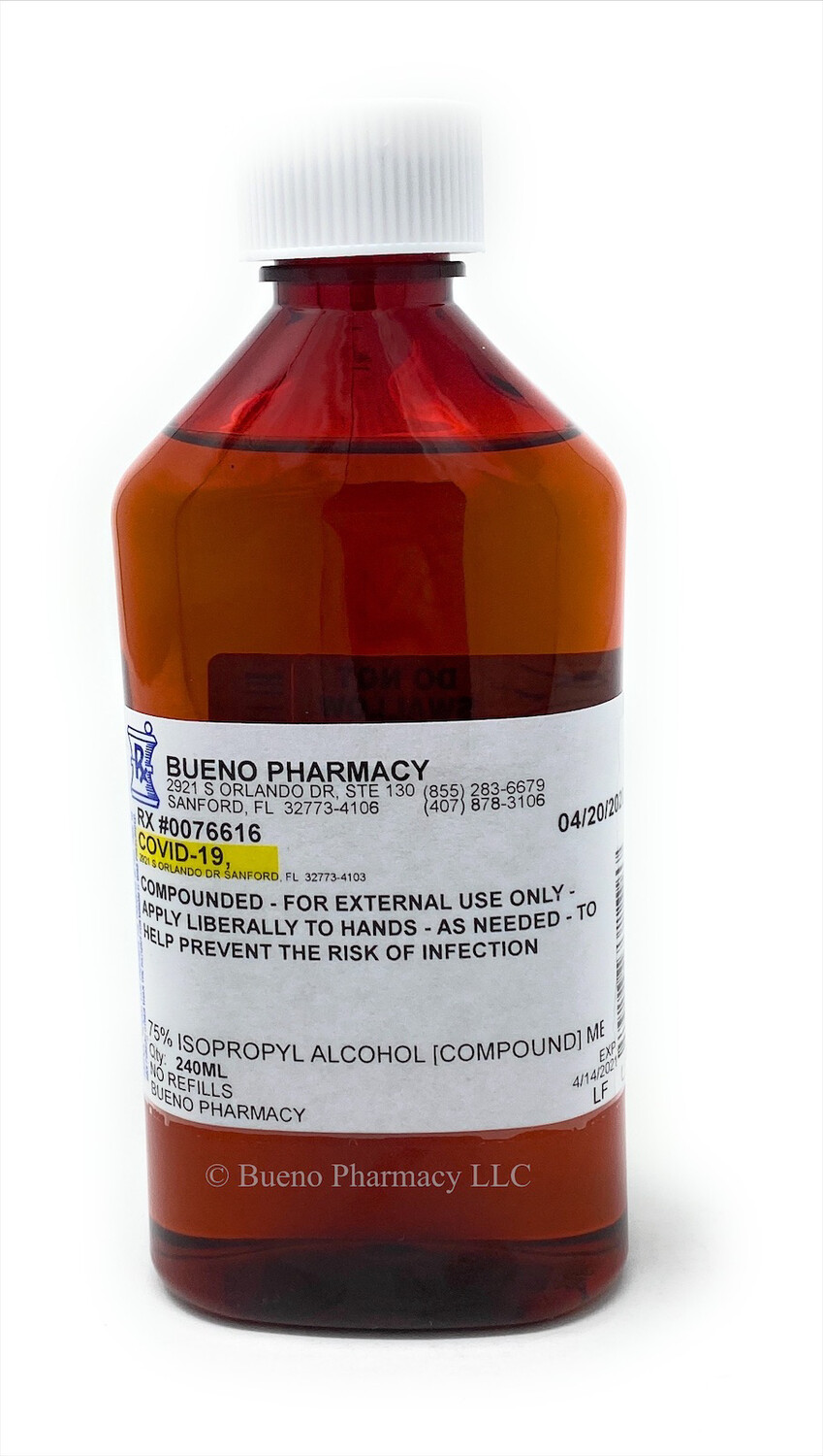 75% Menthol Isoproply Alcohol 240 ml (Pharmacy Compound)
