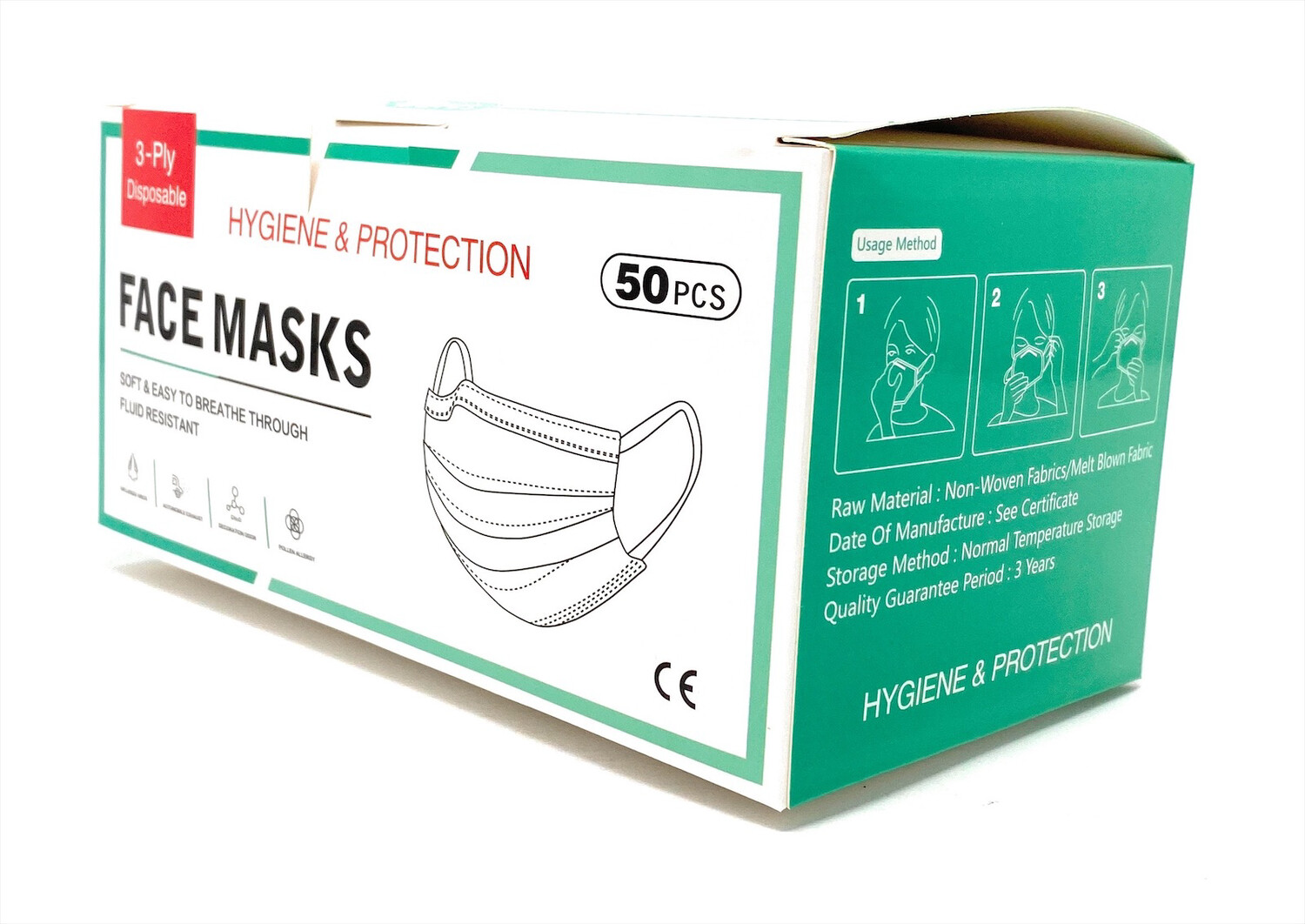 Face Mask 3 -ply Disposable 50 Pcs Box