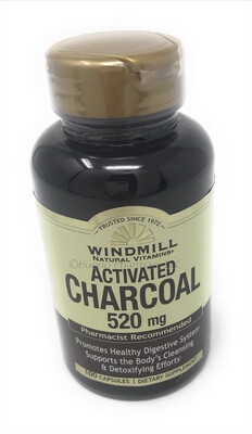 Activated Charcoal 520mg 100 Capsules