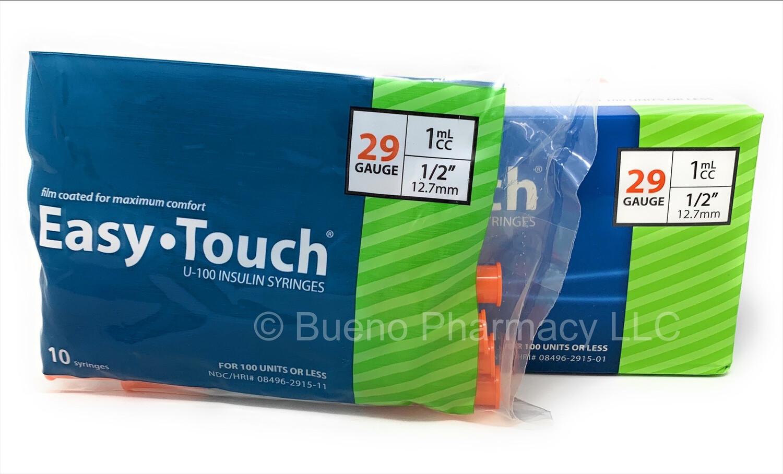 "Easy Touch U -100 Insulin Syringes 29 G 1 Cc ½"" (10 Packs)"