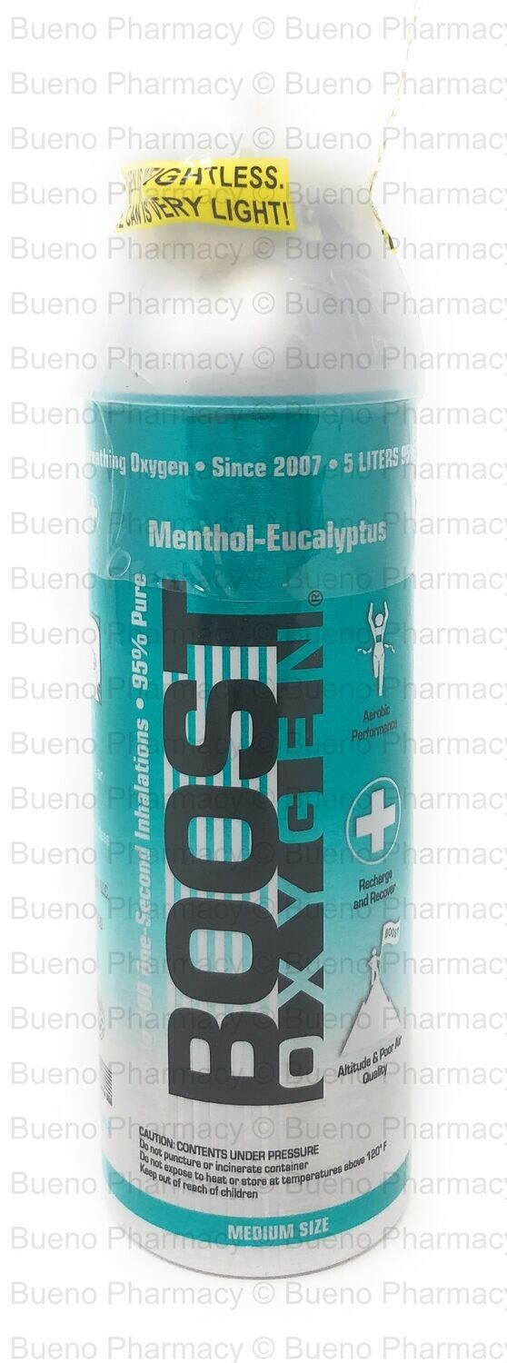 Boost Oxygen Menthol - Eucalyptus (95% Pure Oxygen Can for Personal Use) (5Liters)