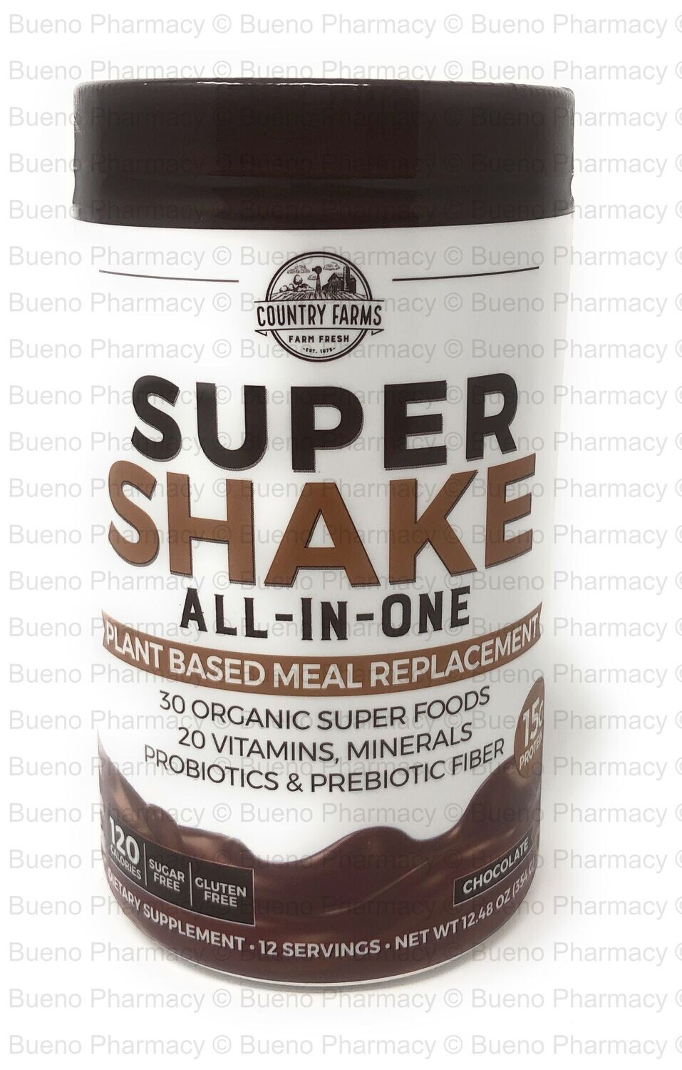 Country Farms Super Shake All - In - One   Plant Based Meal Replacement (Chocolate Drink Mix 12.48 Oz)