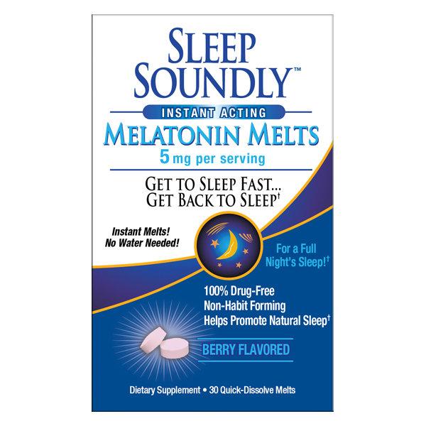 Sleep Soundly Melatonin 5mg       60 Quick Dissolve Melts