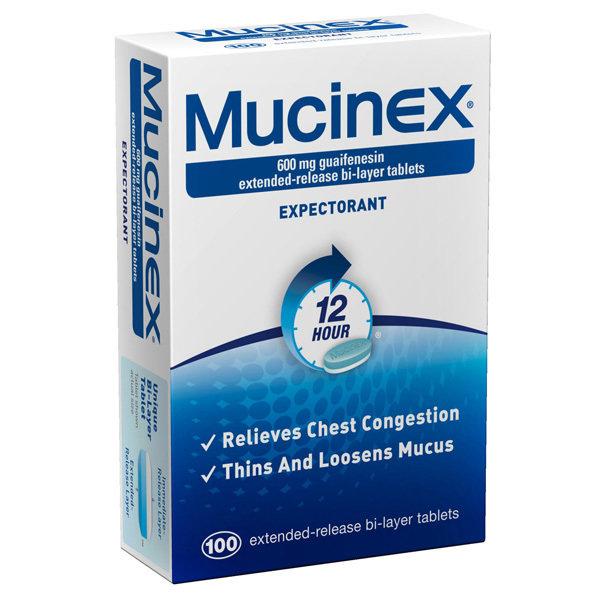 MUCINEX 600MG ER 100 TABLETS