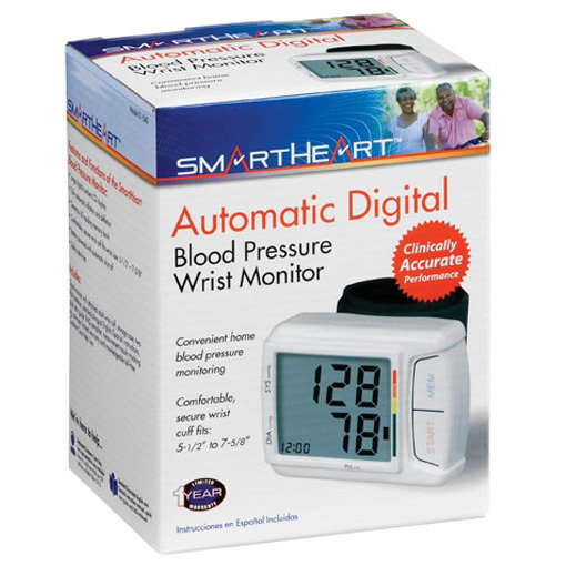 Automatic Blood Pressure Wrist Monitor with Hypertension Indicator