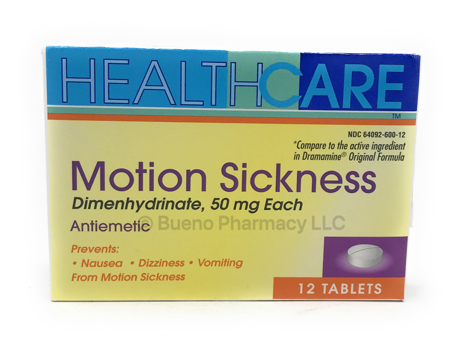 Motion Sickness Dimenhydrinate 50 Mg 12 Tablets