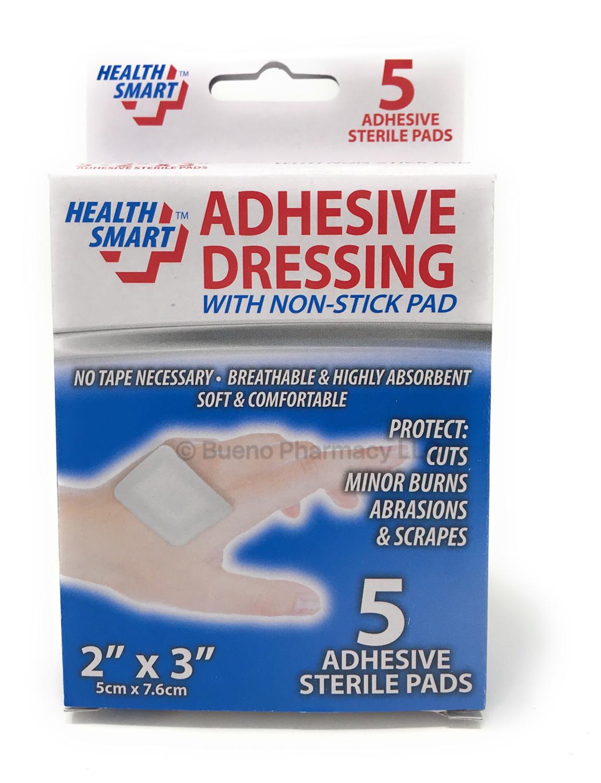 "Adhesive Non Stick Dresding H.S. 2""X3"" ( 5 cm x 7.6 cm) 5 PK"