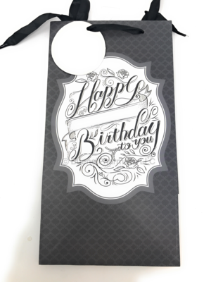 Birthday Bags Small  Gray, Roses, Blue, Gold