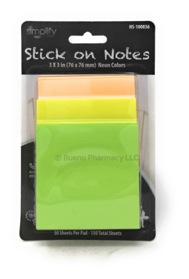 Stick On Notes Neon Colors  150 Sheets