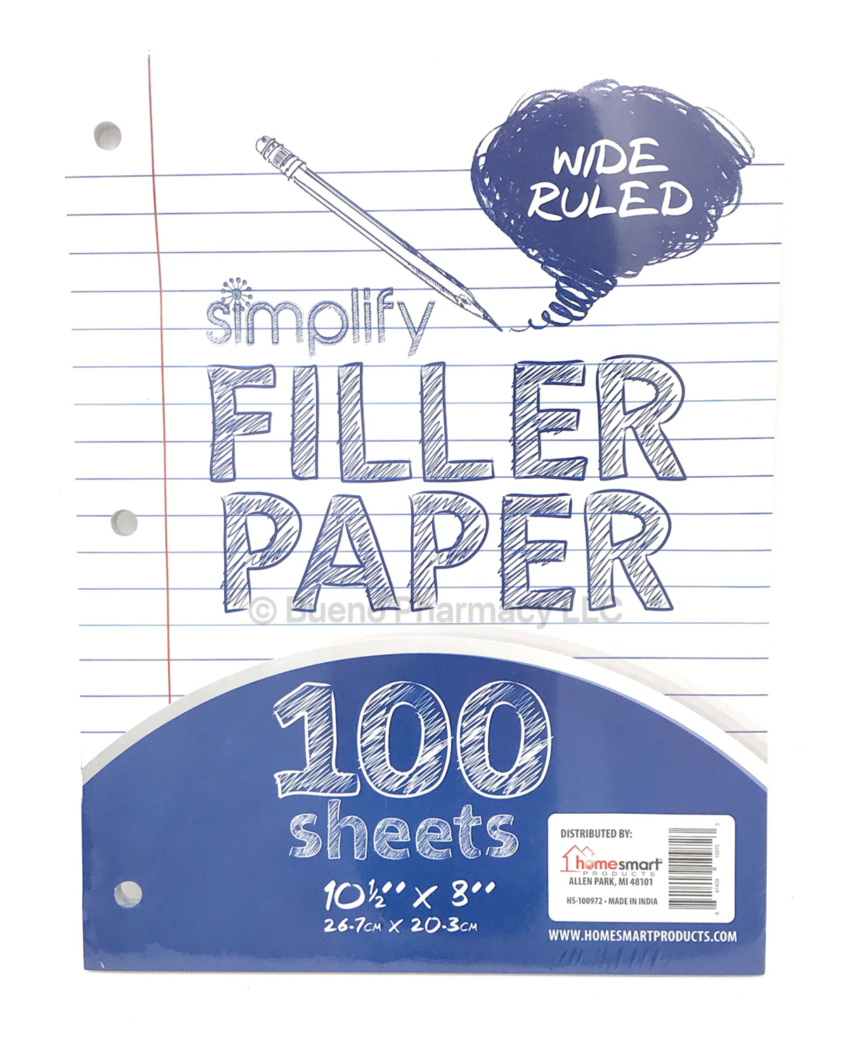FILLER PAPER WIDE RULED 100 SHEETS