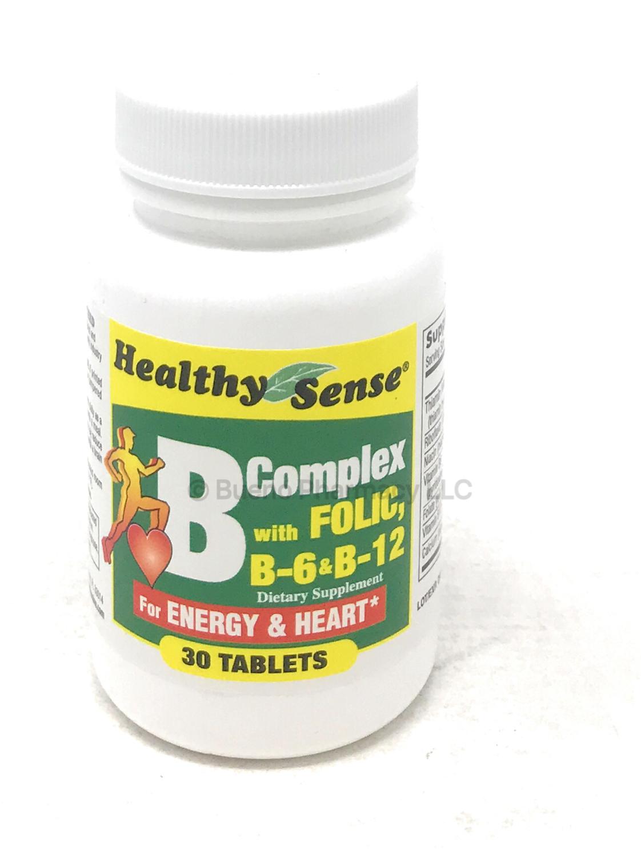 Healthy Sense Vitamin B Complex w. Folic Acid 30 Tablets