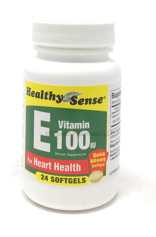 Healthy Sense Vitamin E 100 IU 24 soft gels