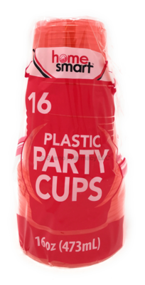 PLASTIC CUPS RED 16 OZ 16PCS