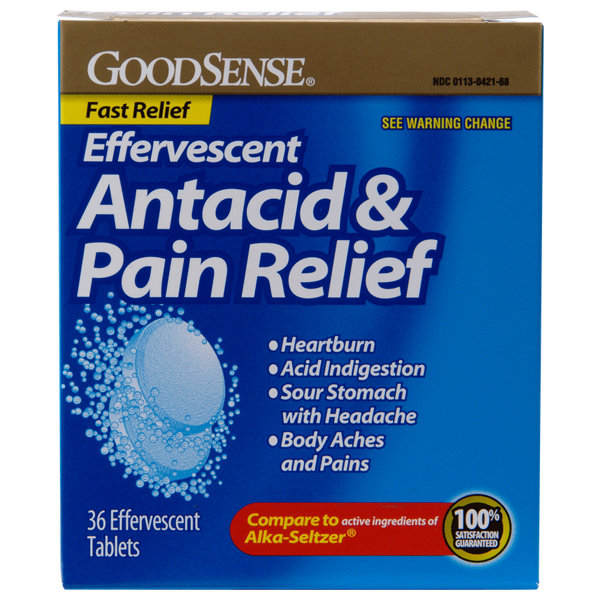 Effervescent Antacid & Pain Relief 36 tablets